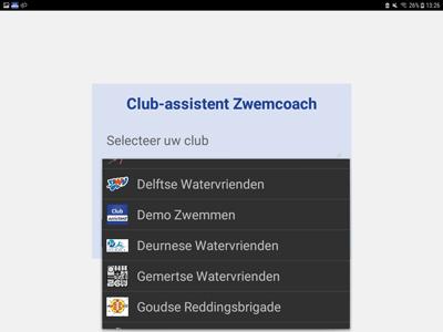 Zwemcoach App Club Keuze